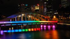 Rainbow colours (elenaleong) Tags: clarkequay sporeriver elginbridge singaporebridges elenaleong rainbowbridge colourfullights rainbowcolours nightscape singaporeriver boatquay