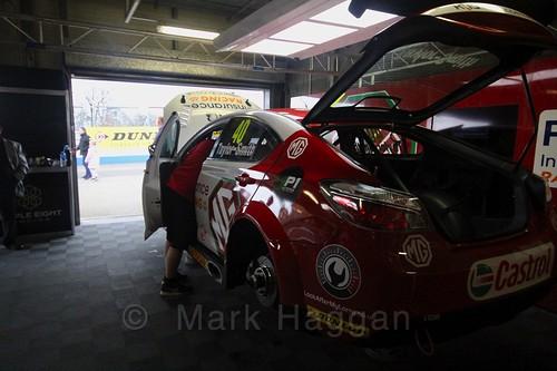 Árón Taylor-Smith's car in the garage at the BTCC Media Day 2017