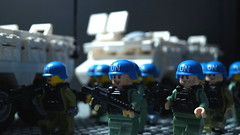 Lego UN Peacekeepers (Force Movies Productions) Tags: un united nations peacekeepers blue helmets vab 6x6 brickarms brickmania bricks brickfilm brickizimo brick guns gear photograpgh photo photograph postapocalypse zombie gun peacekeeper picture custom conflict helmet kits lego rifles rifle war weapons toy toys stopmotion minfig outbreak animation army frame firearms zombies vest minifig minifigs military minifigure moc movie