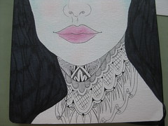 Face (Kate-WanderingMind) Tags: portrait woman art face tattoo pen ink neck nose eyes lashes lips pencilcrayon necktattoo