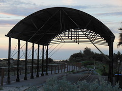 Shelter Over Tracks (mikecogh) Tags: silhouette arch dunes tracks shelter semaphore