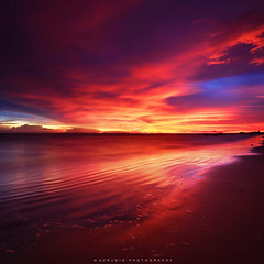 set fire (azrudin) Tags: travel light sunset red sea vacation sky panorama sun reflection art beach nature water silhouette night square landscape photography mirror lowlight nikon slow wave filter squareformat malaysia slowshutter bluehour minimalist scapes graduated waterflow longexposures graduatedfilter vertorama sifoocom d7000 rgnd azrudin