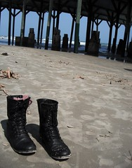 Combat at Sea (Lana Christine) Tags: ocean sea galveston beach nature photography pier sand waves texas seawall combatboots murdochs
