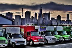 Trucks and City (Alexander H.M. Cascone) Tags: city nyc newyorkcity sunset sky cloud ny newyork skyline brooklyn port manhattan vehicles trucks shipping