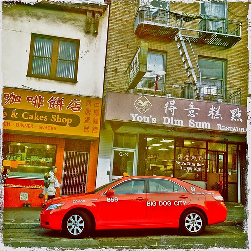 Broadway Chinatown Red Taxi Hipstagram