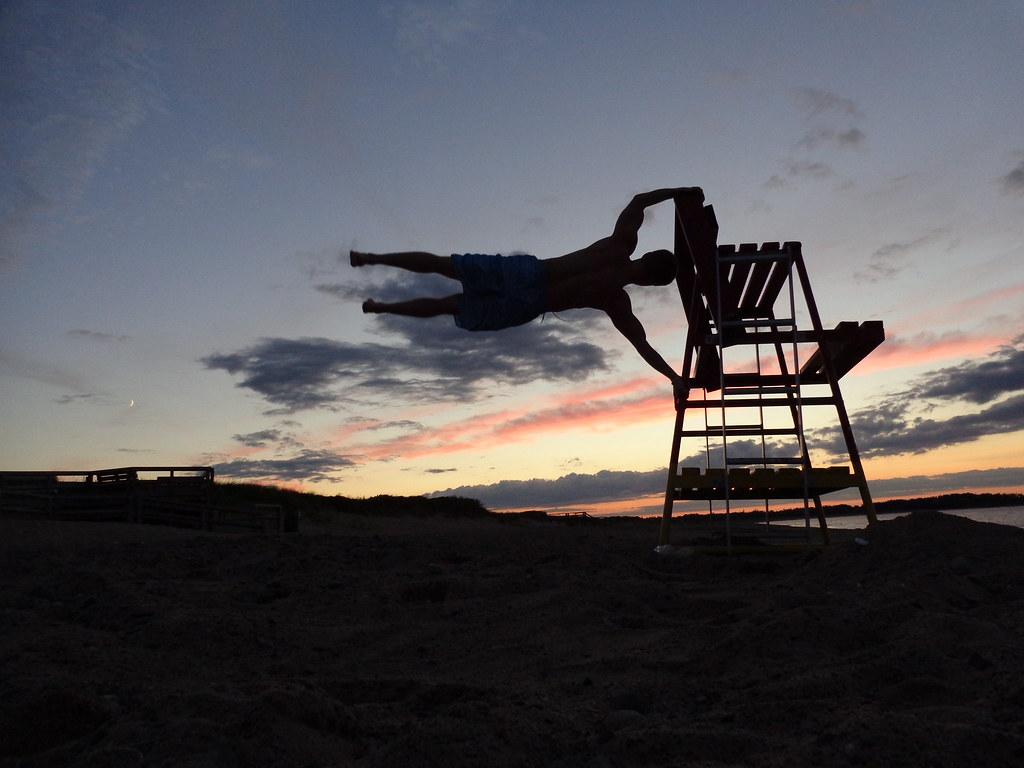 Human Flag At Sunset Jeremy BeachBum Tags Beach Night Fun Fitness