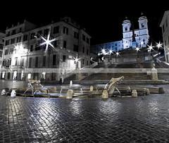 spagna (Photonico's [nico_onida]) Tags: light italy rome roma night canon ruins centre piazzadispagna bernini nocturne scalinata trinitdeimonti barcaccia eos550d