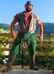 just before sunset (Marsum) Tags: buff rubberboots rugged gummistiefel brawny muscled hairychested stocky swissfarmer stallmontur schweizerbauer stablegear melkerbluse