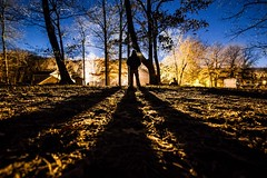 Guardian of the Night (Adam Boden) Tags: blue shadow sky man color beautiful lines night rural standing forest trek wonderful landscape prime amazing woods nightscape perspective stlouis surreal explore nighttime missouri stunning saintlouis exploration epic guardian enchanting t2i