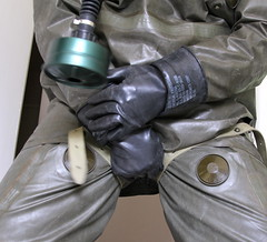 Heavy Rubber Hazmat (nggmrbbr) Tags: black hot green fetish nbc mask rubber hose gas sweaty suit gloves filter heavy hazmat chemical m40 enclosed respirator bundesheer schutzanzug