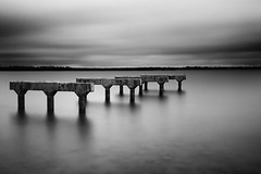 Redcliffe Bridge Relic (Fear_Through_The_Eyes) Tags: longexposure bridge sea bw water australia brisbane shore walkabout queensland redcliffe relic