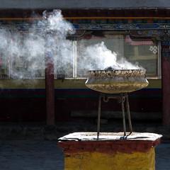 Smoke for harmony and good luck (__ PeterCH51 __) Tags: china building backlight square religious buddhist smoke religion culture buddhism tibet monastery harmony luck squareformat tibetan cultural shalu tibetanbuddhism shalumonastery mywinners earthasia xalu xialu peterch51