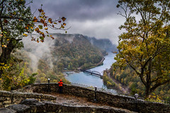 Hawk's Nest Overlook (melepix) Tags: bridge autumn red mist mountains fall girl rain river high bravo view scenic foliage westvirginia overlook hawksnest newrivergorge landscapefog