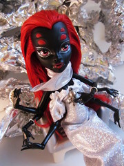 Silver Spider (the_alien_experience) Tags: red woman girl fashion monster silver hair spider high model shiny doll dress space plastic future creature wydowna
