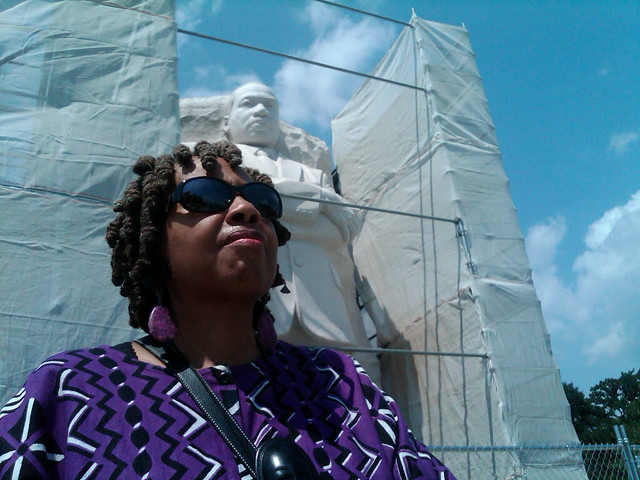 Dr. Shirlene Holmes in front of the Martin Luther King, Jr. Memorial in Washington, D.C.