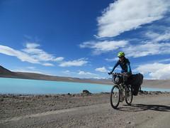 Cycling past Laguna Celeste, en route to Pissis