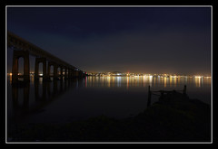 Fun Things To Do In Wormit (K-Burn) Tags: city bridge reflection night lights pier rivertay fife dundee wormit tayrailwaybridge