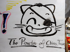 The Pirates of Chinatown (~db~) Tags: china california urban usa america cat la losangeles clothing chinatown unitedstates drawing pirates chinese socal pirate marker exclamation eyepatch s6100100dscn7256