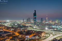 Kuwait City (Liberation Tower - Altejareya Tower) (AlkhashabNawaf) Tags: city blue 6 3 tower landscape nikon soft cityscape view 9 filter lee hour kuwait filters liberation d800 nawaf 1635 gnd alkuwayt alkhashab altejareya