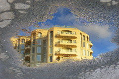 Water Art: Sunny blue skies and reflections after the rain (peggyhr) Tags: blue friends sky cloud white canada reflection building wet water sunshine yellow vancouver wow reflections puddle grey gallery bc branches dry harmony cracks asphalt flipped finegold thegalaxy 50faves peggyhr creativephotographeronflickr mygearandme ringexcellence blinkagain parallelworldpuddlesonly redgroupno1 supersixstage1~flickrbronze niceasitgets~level1 frameit~level01~ musictomyeyes~l1 ♣myhatsofftoyou ♣scapes ♣theartisan ♣atophatphoto p1060548a