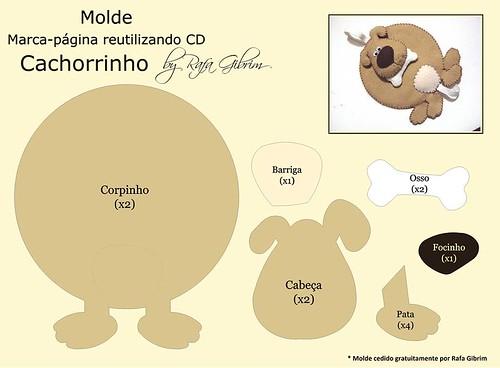 Molde Especial Marca Página Reutilizando Cd Cachorro A Photo