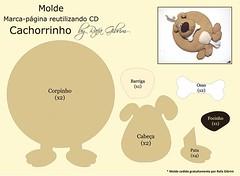 Molde especial - marca-pgina reutilizando cd - cachorro (Feito a mo [by Rafa]) Tags: diy felt cachorro feltro molde fieltro reutilizao marcapgina faavocmesmo