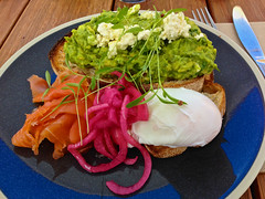 Avocado on toast #2 at Touchwood in Richmond (ultrakml) Tags: cameraphone food cheese breakfast bread avocado toast egg salmon australia melbourne victoria richmond onion pickled feta smoked poached touchwood iphone5