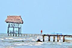 Sky and Sea  / Cielo y Mar (drlopezfranco) Tags: sea sky beach muelle mar dock waves alone peace guatemala paz playa cielo solo olas livingston izabal quehueche