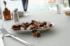 Travels of badger - Grilled Octopus in Oia, Santorini (enigmabadger) Tags: sea vacation island greek europe lego fig aegean eu santorini greece minifig custom minifigure brickarms