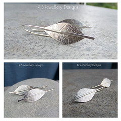 Textured Leaves Sterling Silver Earrings (KSJewelleryDesigns) Tags: flowers texture leaves metal silver leaf petals shiny hammered shine bright handmade jewelry piercing jewellery metalwork handcrafted earrings soldering polished brushed sawing metalsmithing silversmith metalsmith sterlingsilver silversmithing silverjewellery soldered silverwire rollingmill brightsilver