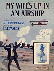 My Wife's Up in an Airship (Alan Mays) Tags: old pink blue red music men philadelphia clouds vintage paper jones flying w