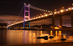 Tsing Ma Bridge (KC photo spree) Tags: nightphotography bridge nature water architecture canon hongkong gold lights asia seascapes suspension