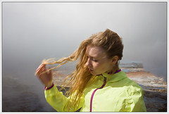 fleeting vapour (true_dat) Tags: portrait motion blur nature fashion yellow iceland steam gas springs windswept blonde sulphur breeze raincoat geothermal gunnuhver