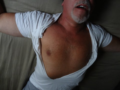 dad's t-shirt stripped (johnsonrod_2007) Tags: gay shirtless ed dad nipples belly stripped navel humiliation doodled