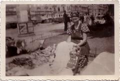 """1950-52"" (Ferencdiak) Tags: budapest hungary woman street nő árus matyó baba utca villamos"