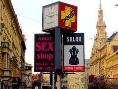 Sex Shop and Salon (mjfrank11) Tags: budapest street city candid europe outdoors landscape sign streetsign