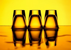 3 Shots (Karen_Chappell) Tags: shotglass glass glasses orange yellow liquid stilllife three 3 black