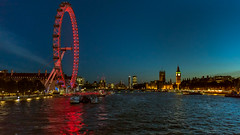 London by Night - view from the Golden Jubilee Bridge (PhredKH) Tags: canon cityscape london londonbynight millenniumwheel nightphotography nightpictures jubileebridge