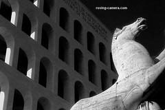E.U.R #4, Rome, 2006 (deemixx) Tags: rome eur artdeco palazzodellaciviltàitaliana equestrianstatue