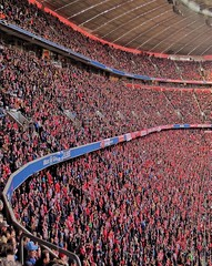 Red Pride (CiccioNutella) Tags: allianzarena bayernmunchen fcbayern supporters fans red kurve tribune norden sport fussball football bundesliga germany german people color vertical stadium event culture architecture arena allianz snapseed munich soccer match matchday horizontal lines rot