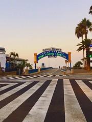 Sunrise Santa Monica • 2016 (xBReXx) Tags: crosswalk palmtrees pacificocean westside earlymorning neonlights streetphotography grind sunrise beach entrance pier santamonica