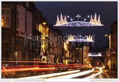 Christmas  Lights on the High Street Knaresborough (© Mark Sunderland www.marksunderland.com) Tags: travel uk unitedkingdom gb greatbritain britain england yorkshire northyorkshire town knaresborough christmas lights highstreet traffic traffictrails dusk twilight britishisles europe northernengland ukengland
