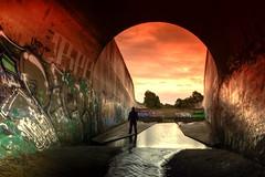 Those Toxic Outfall Sunsets... (JAZ-art) Tags: storm water drain burp urban urbex explore exploring underground melbourne jazart tunnel hoody sunset concrete jungle