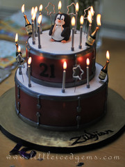 Drum Celebration Cake (Little Iced Gems) Tags: boy penguin birthdaycake cymbal drumsticks celebrationcake drumcake