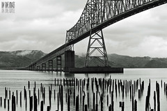 Driving And Piling (Ian Sane) Tags: wood bridge white black architecture oregon river ian washington driving columbia images astoria and pilings piling sane megler cantilever truss
