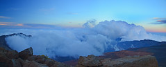 Haleakala National Park, Maui, Hawaii (Sergii Kyrychenko) Tags: park blue sunset sky white mountains yellow clouds hawaii maui national haleakala valley