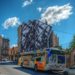 Sky Bus 1 (marcovdz) Tags: street france building bus art wall poster photography photo bill marseille big contemporary jr stop provence rue mur autobus hdr immeuble unframed arrt contemporain rtm 3xp gante horscadre labelledemai rueloubon mp2013 quartierscratifs