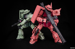 The Grunt and Ace~ (xIGetUm) Tags: 2 mobile suit char gundam zaku grunt bandai gunpla zeon 0079 aznable