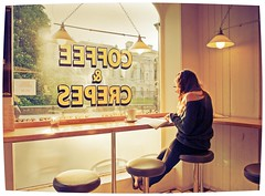 Student at Cambridge, England. (jimj0will) Tags: student cambridge dissertation assignment coffee coffeeshop crepes studying alone odt jimj0will jimjowill cafe shop window university college