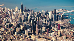 Aerial Chicago (Sky Noir) Tags: above city usa lake chicago skyscraper photography illinois downtown metro michigan aerial il citycenter flyover flyby flypast